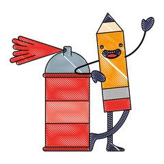 kawaii pencil cartoon character with spray painting