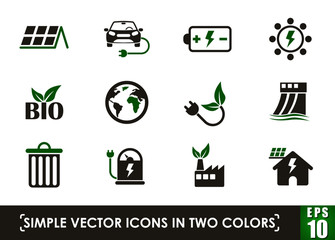 ecology simple vector icons in two colors