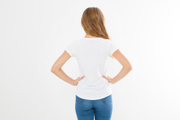 young caucasian, europian woman, girl in blank white t-shirt. t shirt design and people concept. Shirts front view isolated on white background. Mock up. Copy space.