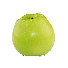 Green apple with water drops isolated on white background