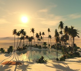 oasis in the sands. Palm trees over a lake in the desert.