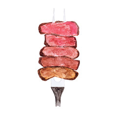 Watercolour painting slices of beef steak on meat fork on white background.