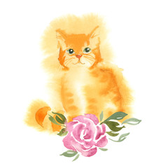The ginger fluffy cat with green eyes sits on the rose
