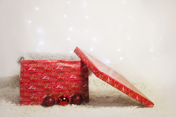 Wrapped Christmas present, red box