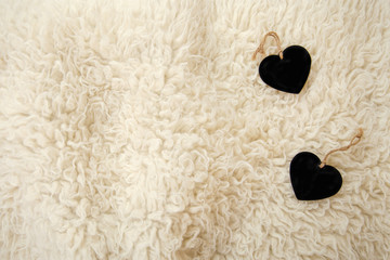 Sheepskin rug with heart chalkboards