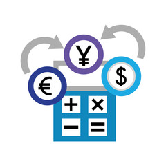 dollar euro and yen business with calculator