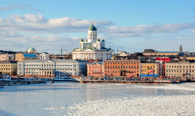 Helsinki cityscape with Helsinki Cathedral in winter, Finland Wall mural