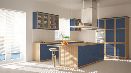 Modern wooden and blue kitchen with island, stools and windows, parquet herringbone floor, architecture minimalistic interior design