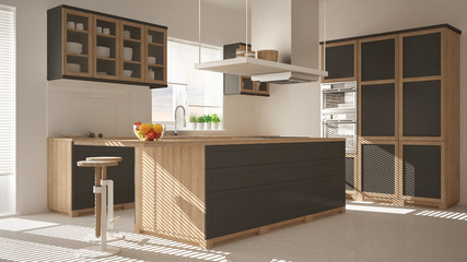 Modern wooden and gray kitchen with island, stools and windows, parquet herringbone floor, architecture minimalistic interior design
