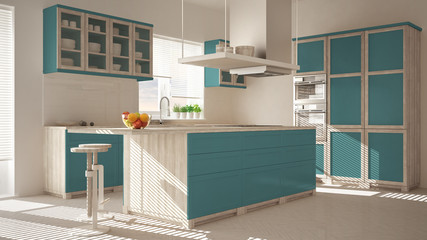 Modern wooden and turquoise kitchen with island, stools and windows, parquet herringbone floor, architecture minimalistic interior design