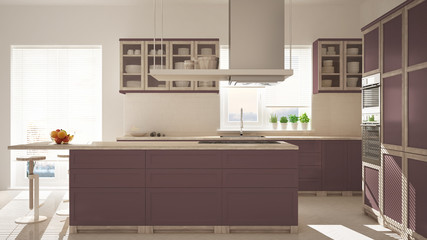 Modern wooden and red purple kitchen with island, stools and windows, parquet herringbone floor, architecture minimalistic interior design