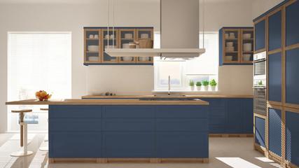 Modern wooden and blue kitchen with island, stools and windows, parquet herringbone floor, architecture minimalistic interior design
