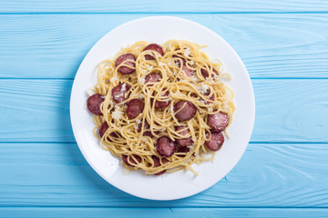 Pasta spaghetti with sausages