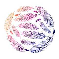 Ethnic feathers round colored emblem vector illustration
