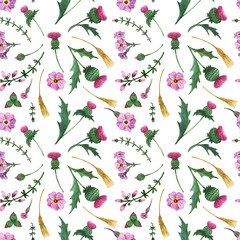 Watercolor thistle and scottish plants seamless pattern