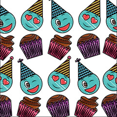 birthday cupcake and emoji wink love happy pattern vector illustration drawing color