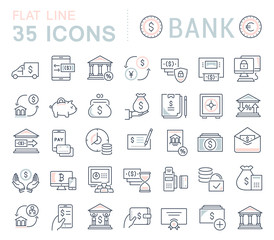 Set Vector Line Icons of Bank.