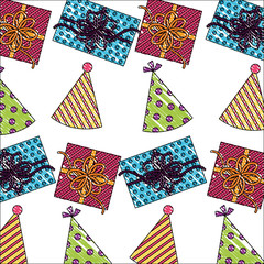 birthday gift boxes with party hats pattern vector illustration drawing color