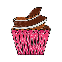 sweet cupcake cream delicious pastry vector illustration drawing color