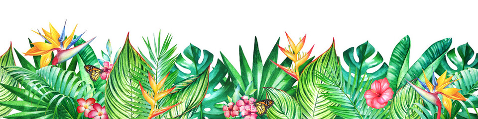 Background with watercolor tropical plants and flowers