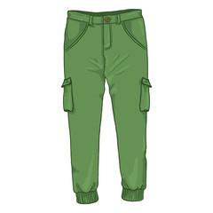 Vector Single Cartoon Illustration - Green Jogger Trousers
