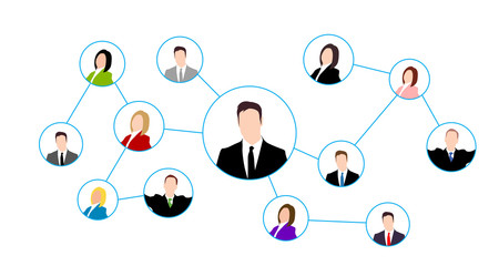 Illustration of social network scheme with people