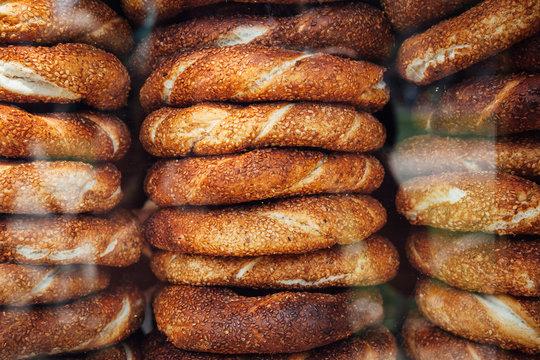 Stacks of simit bread in Istanbul, Turkey