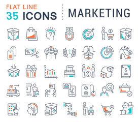 Set Vector Line Icons of Marketing.