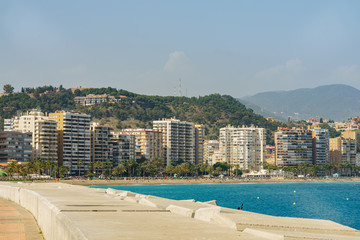 Panoramic view over the city of Malaga, Spain.
