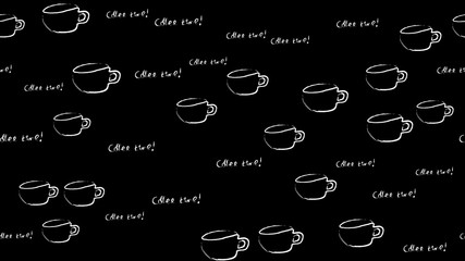 Texture seamless pattern of white cups of mugs with a pen of black coffee drawn in watercolor chalk paints and a coffee time inscription on a black background. illustration