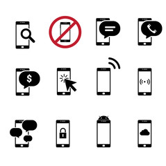 Black and White mobile Flat Design Icon cellphone for digital Technology Concept Background Vector Illustration