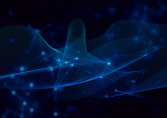 wave curve hologram blue abstract blue digital internet futuristic technology network background illustration