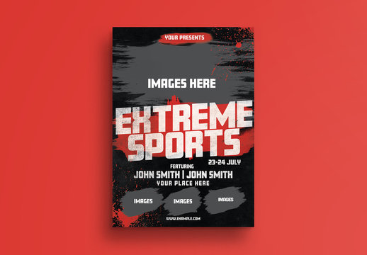 Sports Event Flyer Layout with Grunge Elements