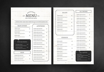 Restaurant Menu Layout with Wood Grain Background