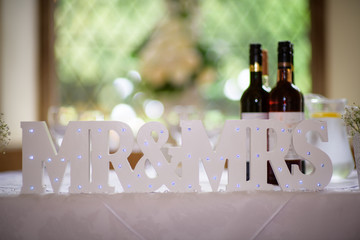 Mr & Mrs white wooden letters text letters table decorations for wedding reception decor