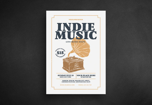 Music Flyer Layout with Phonograph Illustration