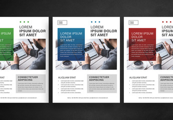 Business Flyer Layout with Colorful Photo Overlay
