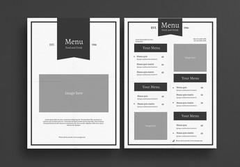 Minimalist Restaurant Menu Layout