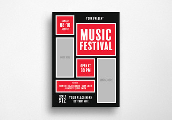 Event Flyer Layout with Geometric Elements