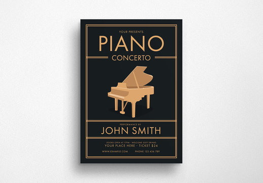 Music Flyer Layout with Piano Illustration