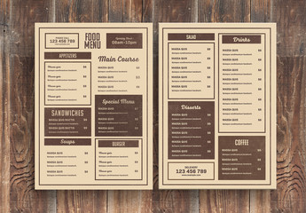 Restaurant Menu Layout with Brown Accents