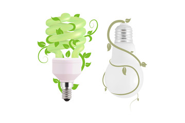 Ecological lightbulb icon in vector format. Eco idea design of Vector green light. Light bulb and green leaves. Technology and nature connection concept. Old and New bulbs.