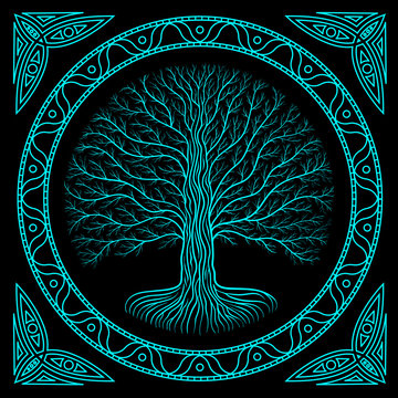 Druidic Yggdrasil tree at night, round silhouette, black and blue logo. Gothic ancient book style
