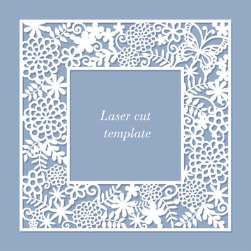 An openwork frame with flowers and a butterfly. Laser template for greeting cards, envelopes, wedding invitations, decorative items.