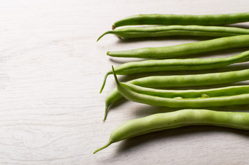 Vegan food concept. Long pod of bean. Vegetarian food. Farmer market.