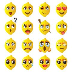 Lemon Emoji Emoticon Expression. Funny cute food