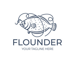 Fishing and fish, flounder grabs bait on hook and line, logo design. Seafood, food, angling on nature, vector design and illustration