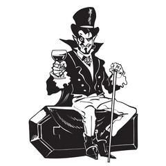 Count Dracula sitting on the coffin. Halloween cartoon vampire character.