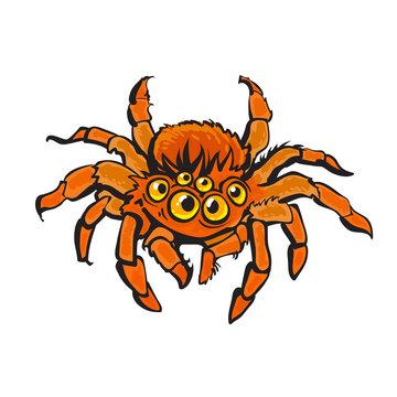 Cartoon red gigantic spider. Halloween character. Hand drawn vector.