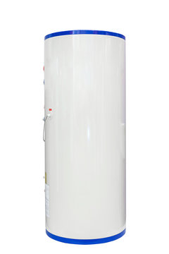 White air source heat pump water heater isolated on a white background. Including clipping path